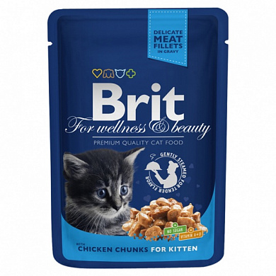 Brit Premium Chicken Chunks for Kitten пауч